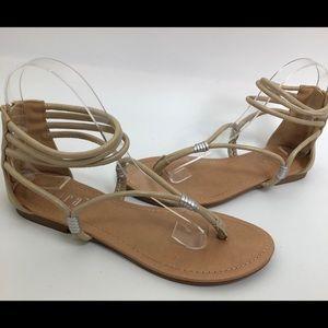 tiara los angeles gold gladiator sandals size 7.5